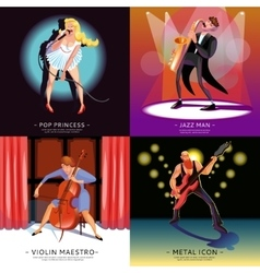 Music 2x2 concept banners vector