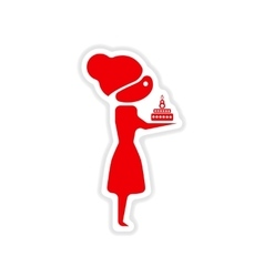 Paper sticker on white background girl with cake vector