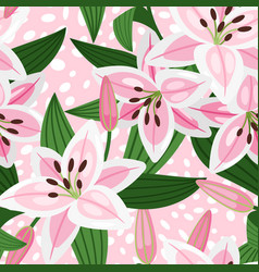 pink lily floral pattern vector image vector image