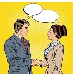 Pop art businessman and business woman handshake vector