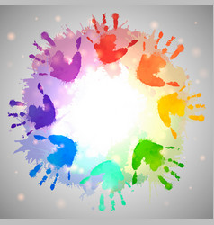 Rainbow prints of children hands and watercolor vector