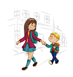 schoolboy and schoolgirl vector image
