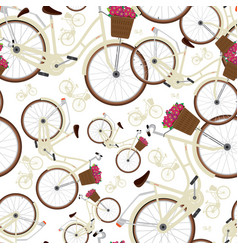 Seamless white pattern with city bicycles vector