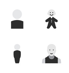 Set of simple profile icons elements man avatar vector