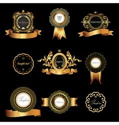 Set of vintage gold-framed labels vector