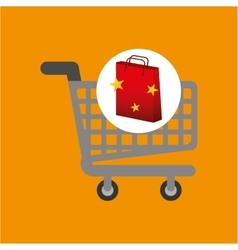 Shop cart red bag gift star design vector