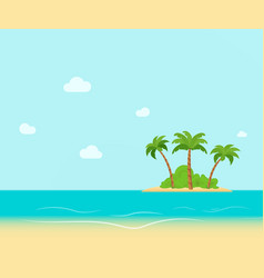 Tropical coast beach with hang palm trees view vector