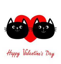 two black cat head couple family icon red heart vector image vector image