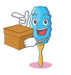 With box feather duster character cartoon vector