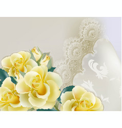 Yellow roses lace card delicate summer vector