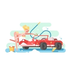 Sexy girl washing a car vector