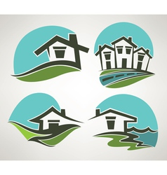 little home in small town vector image