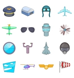 Aviation icons set cartoon style vector