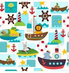 Seamless pattern sea transports with animals vector