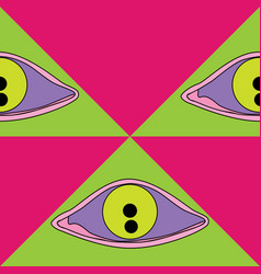 brush drawn eyes and triangles seamless vector image