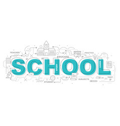 Design concept of word school website banner vector