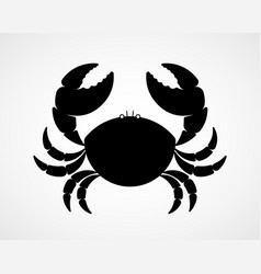 Black and white crab silhouette vector