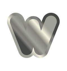 letter w steel font metal alphabet sign iron abc vector image