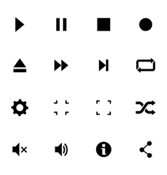 Black media player icons set vector