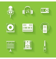 Set of white music and sound icons vector