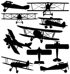 Silhouettes of old aeroplane - biplane vector