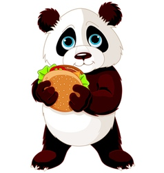Panda eats hamburger vector