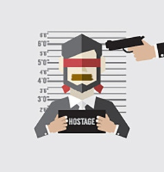 Hostage on mugshot with gun point to his head vector