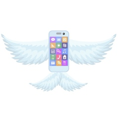 Mobile phone smartphone with wings on white vector
