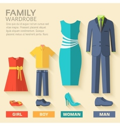 Style fashion clothing for family icon set vector