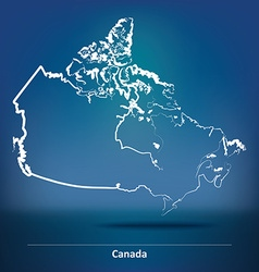 Doodle map of canada vector