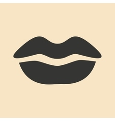 Flat in black and white mobile application lips vector