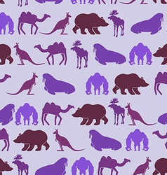 Zoo seamless patten color background of wild vector