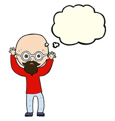 Cartoon stressed bald man with thought bubble vector