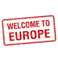 Welcome to europe red grunge square stamp vector