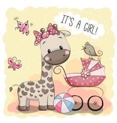 Baby carriage and Giraffe vector image vector image