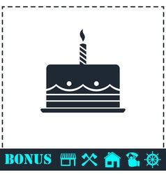 Birthday cake icon flat vector