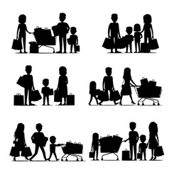 black silhouettes of people groups doing shopping vector image vector image