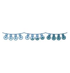 blue shading silhouette of festoons bulb lights vector image