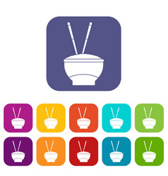 Bowl of rice with chopsticks icons set flat vector