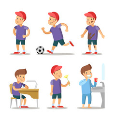 boy cartoons set happy childhood vector image