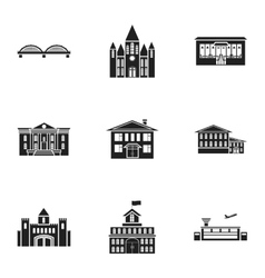 Building set icons in black style big collection vector