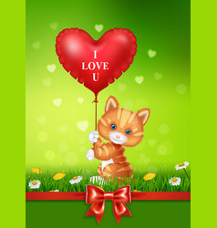 Cartoon cat holding red heart balloons with red sa vector