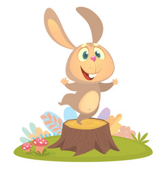 cartoon cool little bunny rabbit dancing vector image