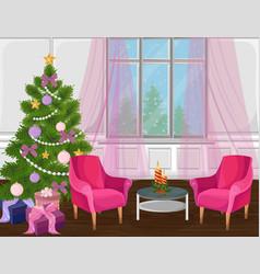 Classic livingroom interior with christmas tree vector