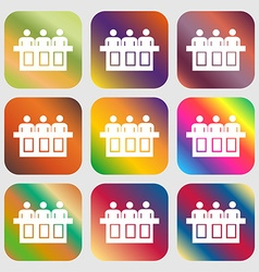 Conference icon nine buttons with bright vector