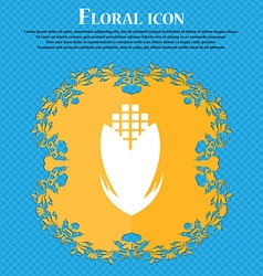 Corn icon sign floral flat design on a blue vector