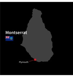 Detailed map of montserrat and capital city vector