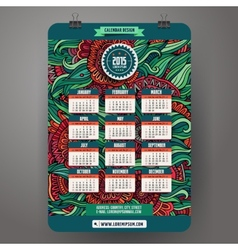Doodles cartoon floral calendar 2015 year design vector