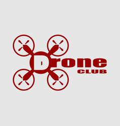 drone icon drone club text vector image vector image