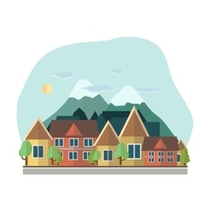 Flat design urban landscape day on a vector image